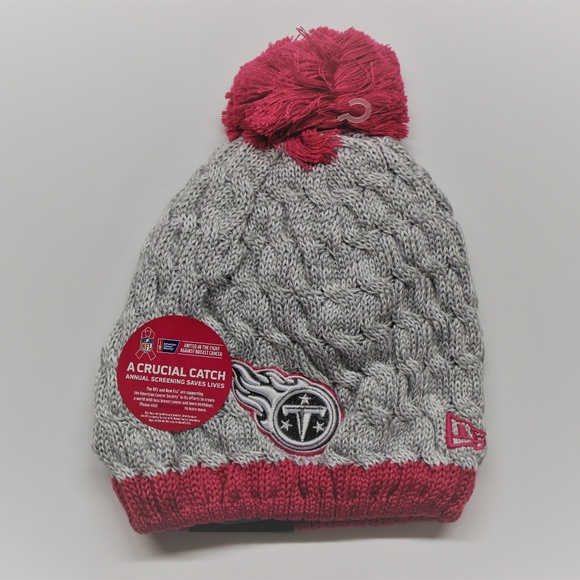 b5d15d03cfc New Era Titans NFL Pink Breast Cancer Knit Hat